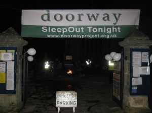 The entrance to St Andrew's Churchyard for Doorway SleepOut 2014