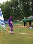 The purple man runs the Chippenham Half Marathon for Doorway