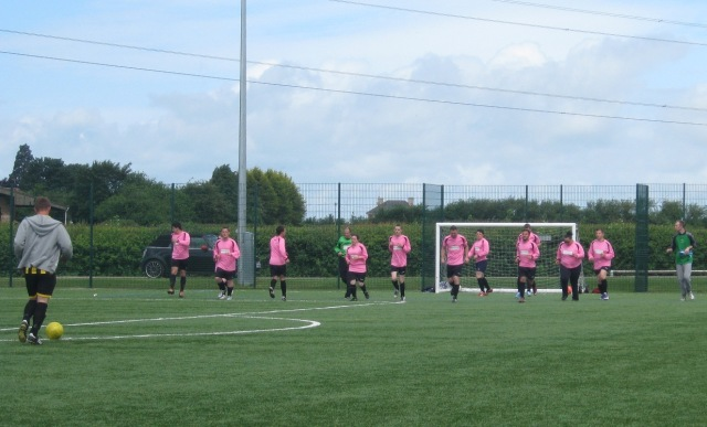 Warming up pre-match - not trying out our new 2 goalkeeper 11 defender formation